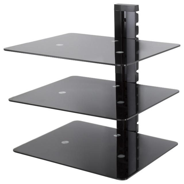 wall mounted av component shelving system 1 shelf black. Black Bedroom Furniture Sets. Home Design Ideas