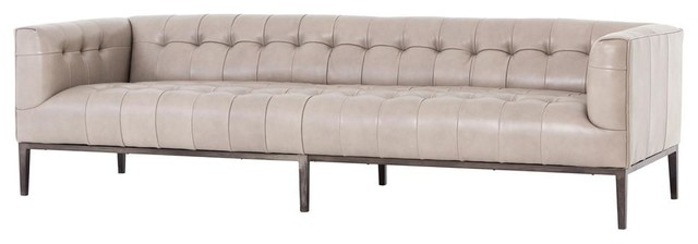 Marlin Modern Stone Leather Tufted Low Back Sofa 96\