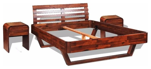 Vidaxl Bed Frame With Cabinets Solid Acacia Wood Rustic Bedroom Furniture Sets By