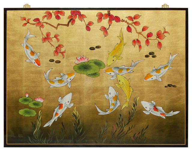 Koi Wall Décor In Gold Leaf : Gold leaf prosperity koi fish panel asian wall decor