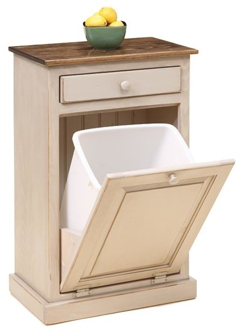 Tilt Out Trash Bin Cabinet, Primitive White Paint With Walnut Stained Top