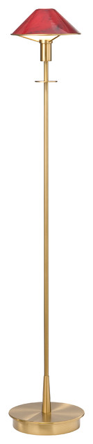 Halogen Floor Lamp, Antique Brass With Magma Red Glass.