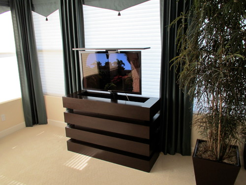 Le Bloc TV Lift Cabinet in a beautiful modern bedroom. Cabinet Tronix. This is a small TV lift ...