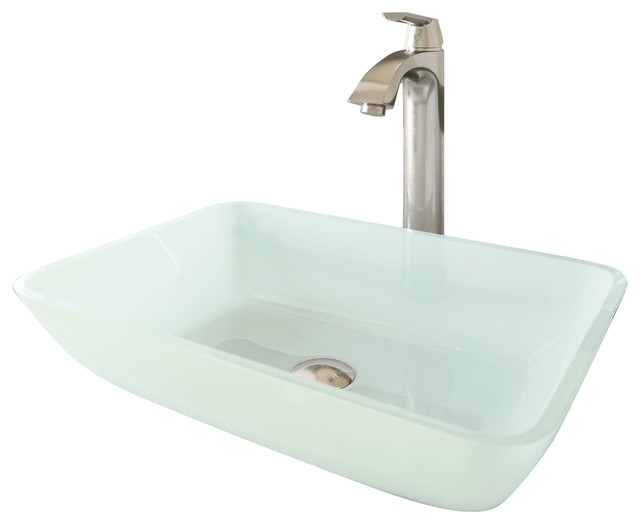 Rectangular White Frost Glass Vessel Bathroom Sink Set With Linus Vessel Faucet.