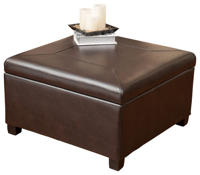 Shop Houzz Gdfstudio Sabrina Leather Storage Ottoman Coffee Table Footstools And Ottomans