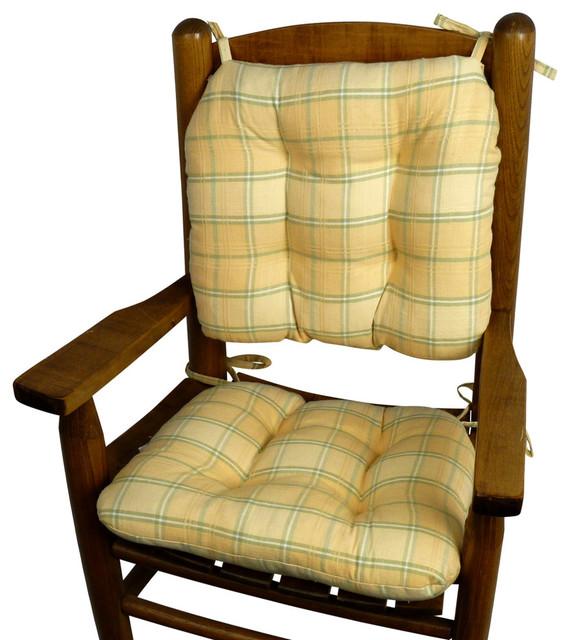 Attirant Child Rocking Chair Cushions, Morning Dew Yellow Plaid, Machine Washable