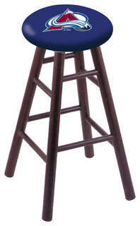 "Colorado Avalanche Swivel Stool With Dark Cherry Oak Wood Base, 18"" Vanity"