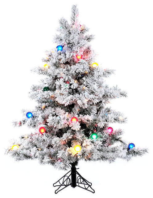 Flocked Alaskan Pine Tree Dura Lit And G50 Lights 4 5 Multicolor