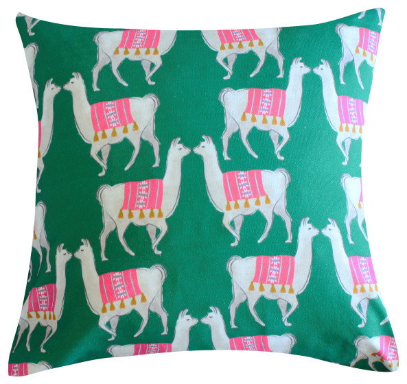 """Llama Greeb Pillow by Clairebella, 20""""x20"""", With Insert"""