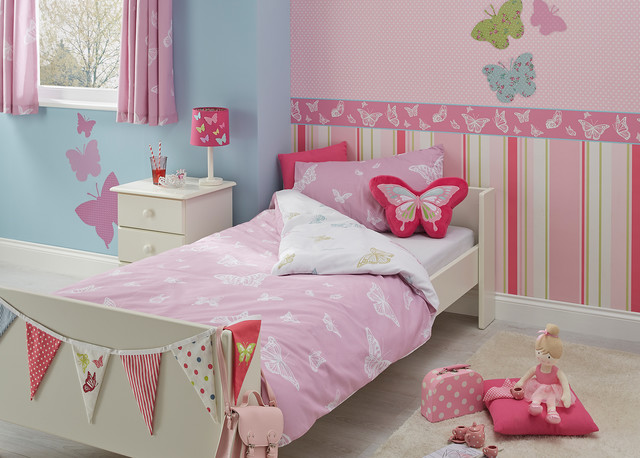 Butterfly Design Girls Bedroom Contemporary