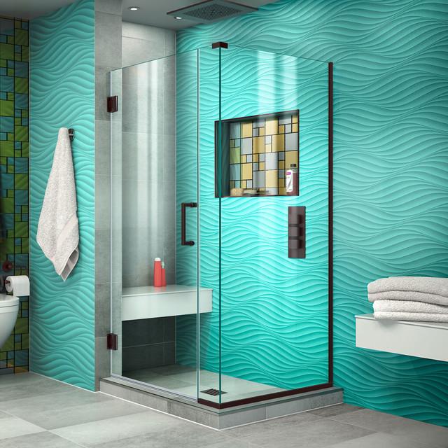 "DreamLine Unidoor Plus 30""x30.375""x72"" Shower Enclosure, Oil Rubbed Bronze"