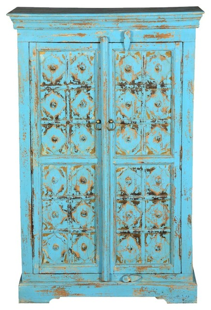 Distressed Blue Diamond Reclaimed Wood Freestanding Wall Cabinet.