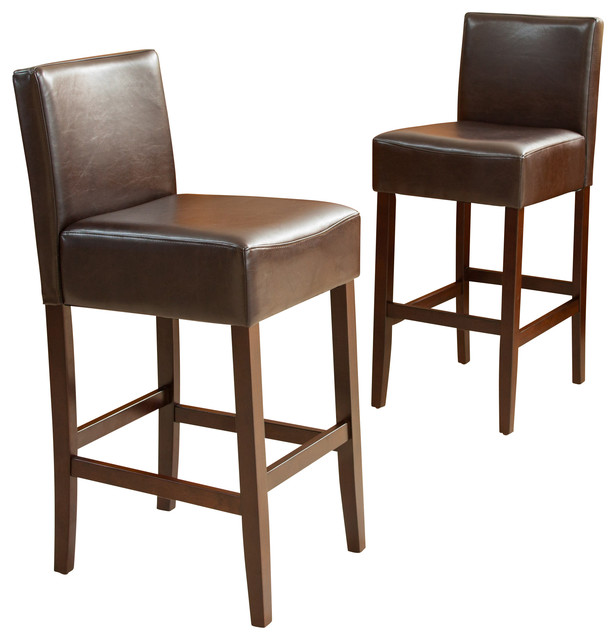 Lowry Leather and Wood Bar Stools Set of 2 transitional-bar-stools-  sc 1 st  Houzz & Lowry Leather Bar Stools Set of 2 - Transitional - Bar Stools And ... islam-shia.org