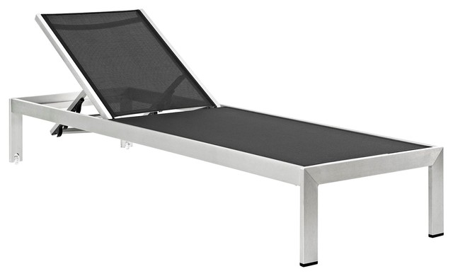 Modern Contemporary Urban Outdoor Patio Chaise Lounge Chair, Black, Aluminum.