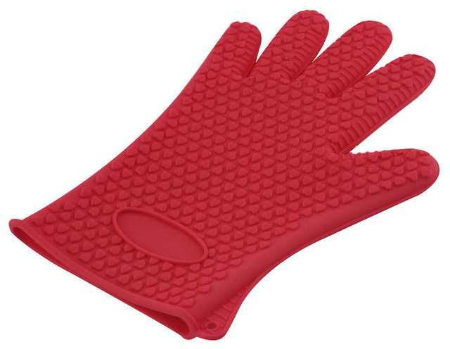 Heat Resistant Silicone Gloves- 1 Pair, Red