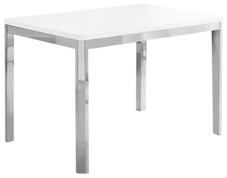 Monarch Dining Table, White and Chrome