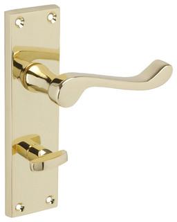 Scroll Lever Door Handles forbidden_on Backplate, Bathroom Lock