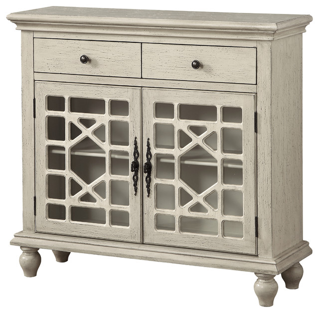 Two Drawer Two Door Cupboard, Texture Ivory