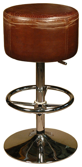 Jeanne Rustic Retro Distressed Top Grain Leather Brown Barstool Bar Stools And