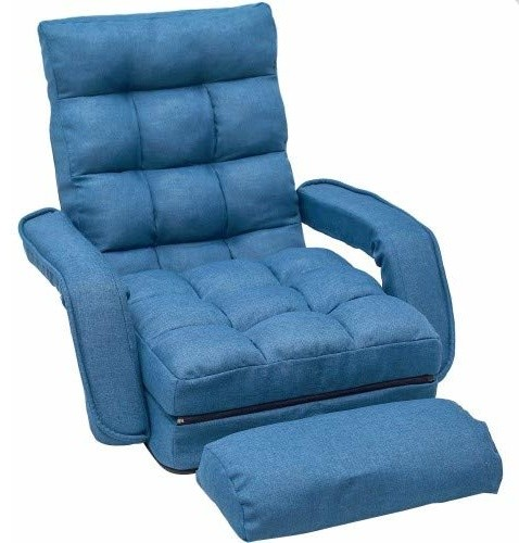 Folding Lazy Sofa Floor Chair Sofa Lounger Bed With Armrests And A Pillow Blue Contemporary Indoor Chaise Lounge Chairs By International Image Canvas Houzz