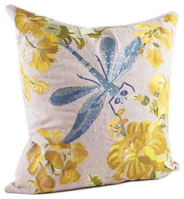 Modern Embroidered Throw Pillow : Embroidered Collection Decorative Throw Pillow - Contemporary - Decorative Pillows - by Fennco ...