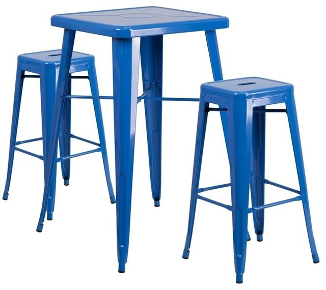 Stylecraft Barclay Brass 3 Piece Living Room Accent Table: Flash Furniture Metal 3-Piece Bar Table Set In Blue