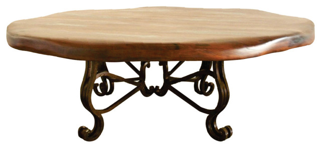 Round Iron Mesquite Wood Top With Scalloped Edge Coffee Table Mediterranean Coffee Tables