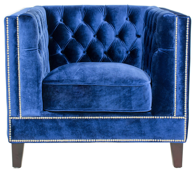 Pasargad Victoria Collecion Tufted Velvet Armchair, Navy  Transitional Armchairs And Accent