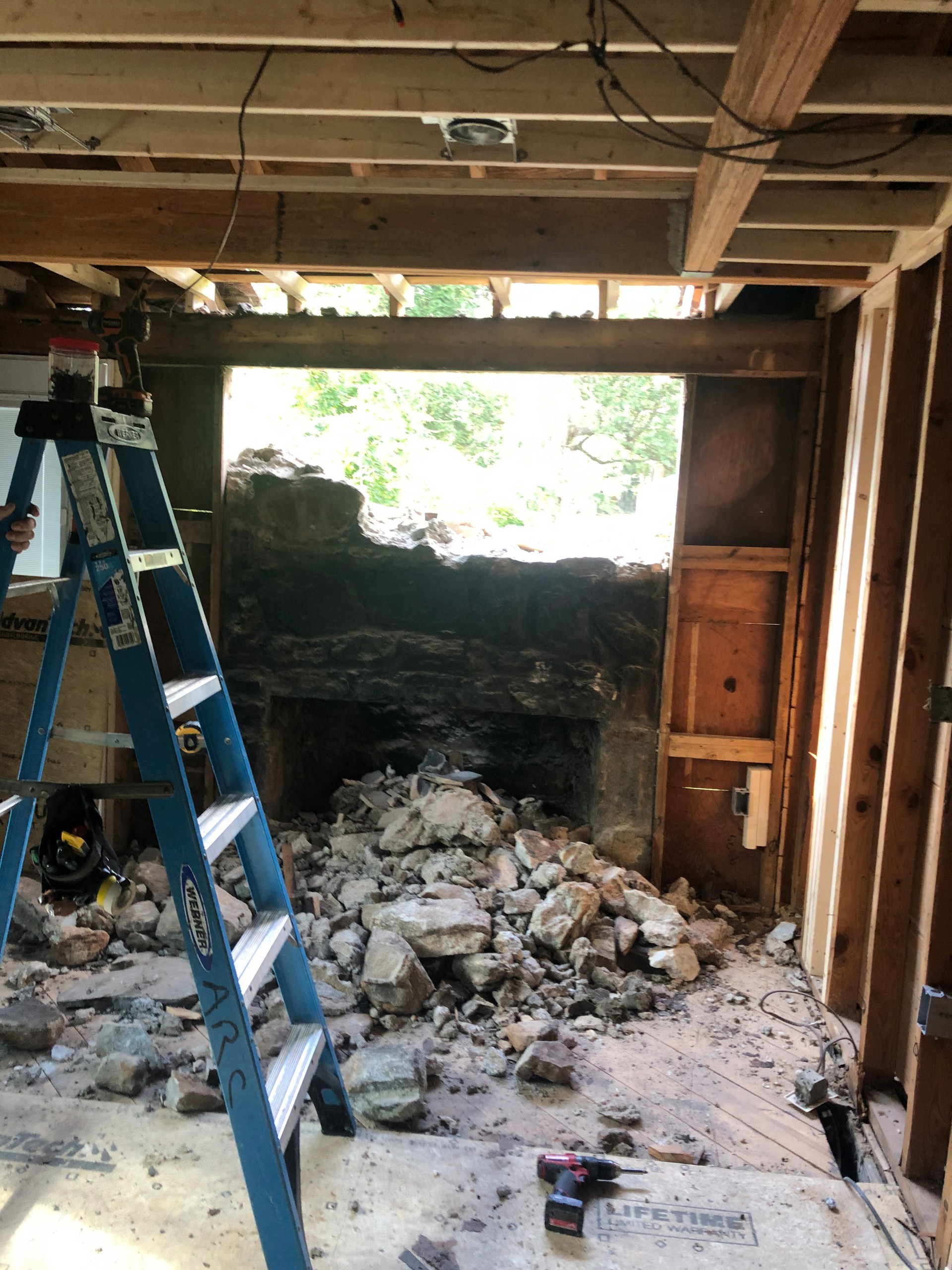 Old Stone Fireplace Demo