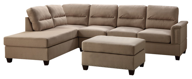 Functional 3 Piece Sectional Sofa Set Transitional Sectional Sofas
