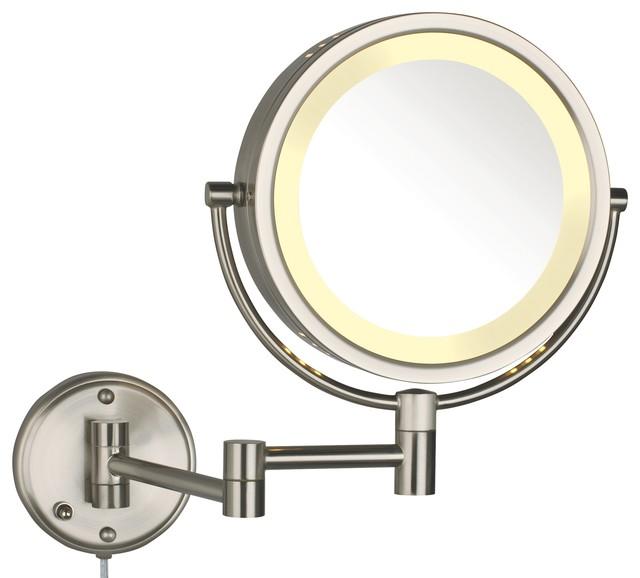 Modern Nickel Wall Mounted Lighted Make Up Mirror
