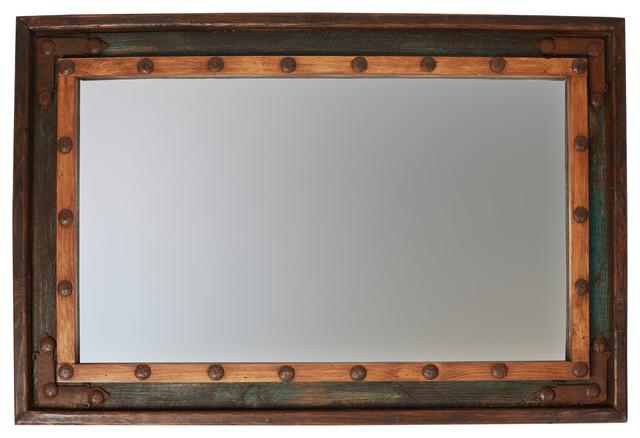 """El Paso Rustic Turquoise Mirror, 23""""x35""""."""