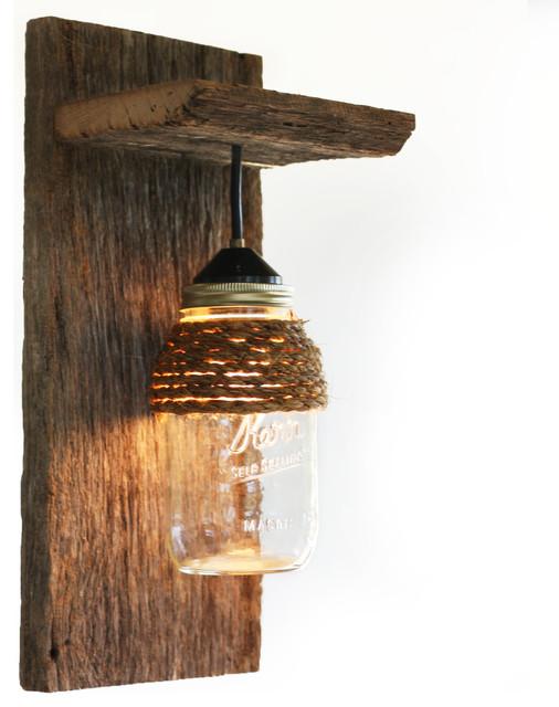 Shop houzz grindstone design barn wood mason jar light for Rustic barn light fixtures
