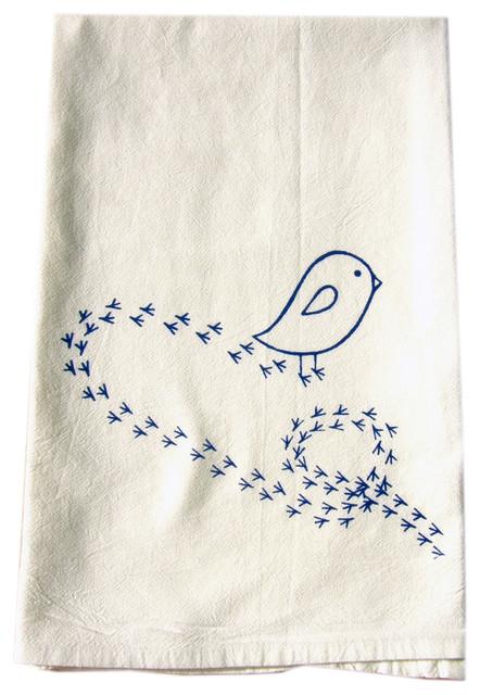 Little Blue Bird Of Happiness Cotton Flour Sack Dish Towel Modern Dish  Towels
