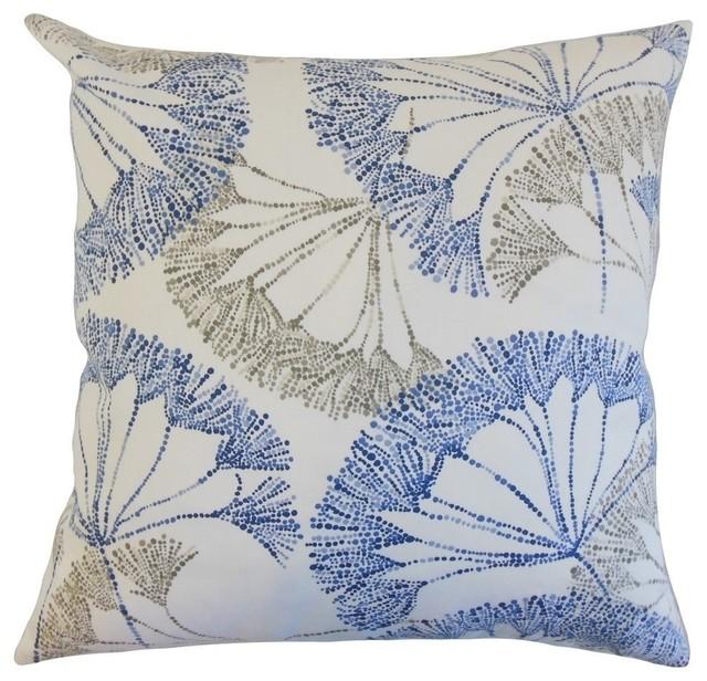 "Grove Floral Pillow, Blue 20""x20""."