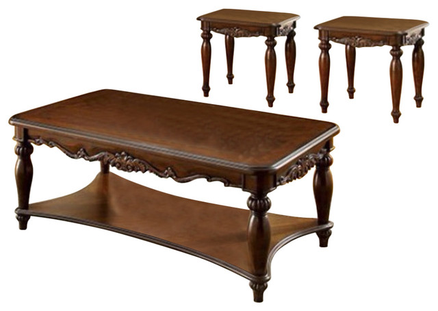 Wooden Coffee And End Tables Set Cherry Brown Pack Of 3