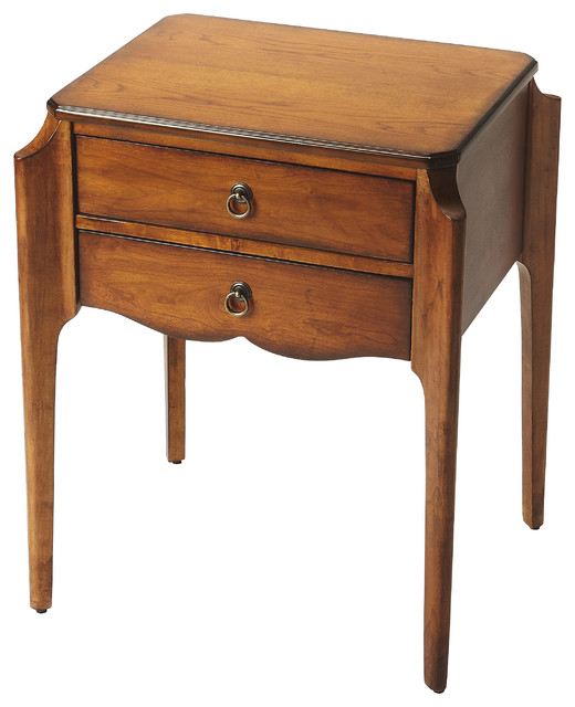 Butler Wilshire Olive Ash Burl Accent Table Transitional Side Tables And End