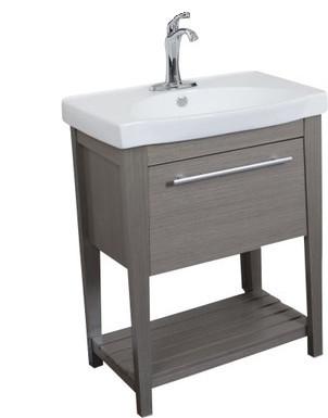 Bari Single Ceramic Sink Taupe Vanity.