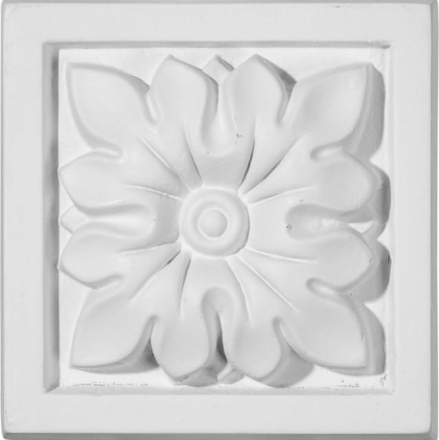 """Floral Plinth Block, 3 1/2""""w X 3 1/2""""h X 1 1/4""""p."""