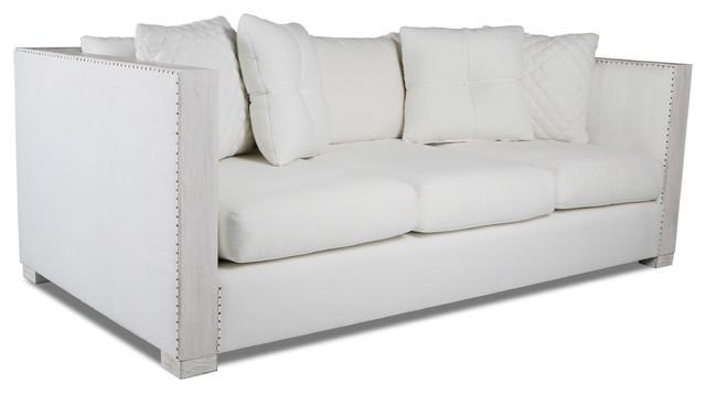 Plush Deep Restoration Linen Sofa, White.