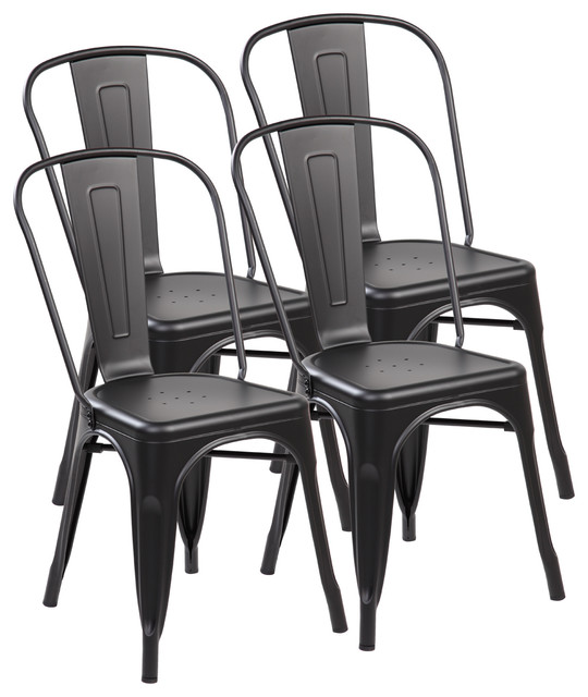 Shop Houzz United Seating Set Of 4 Metal Stackable Industrial Chic Bistro C