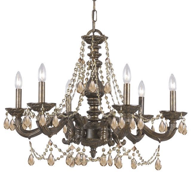 Crystorama Paris Market 6-Light Golden Teak Crystal Bronze Chandelier