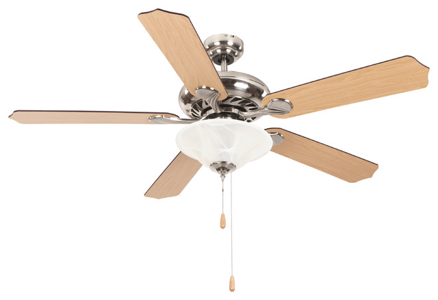 """52"""" Ceiling Fan, 72"""" Lead Wire, Bright Brushed Nickel, Bright Brushe."""