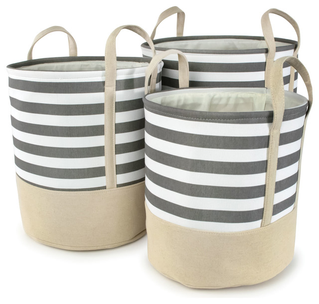 "Gray Striped Cotton Canvas Nested Round Hampers, Set Of 3, Large, 17""x18""."