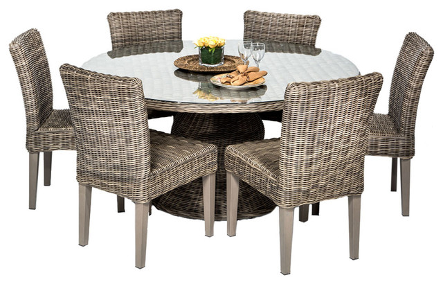 Royal Vintage Stone 60 Outdoor Patio Dining Table With 6 Chairs Tropi
