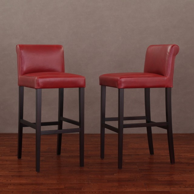 burnt red leather barstools set of 2
