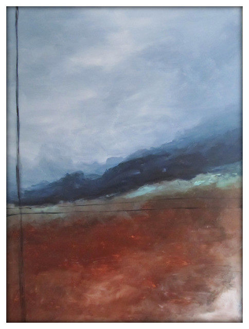 Abstract Landscape Modern Minimalist Acrylic Painting On Canvas - 30x40.