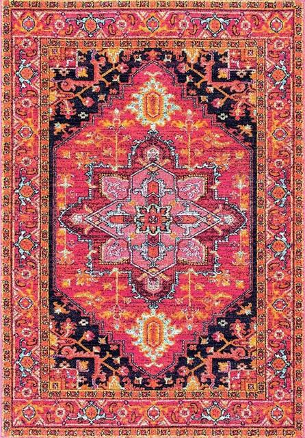 Traditional Fancy Persian Vonda Orange Area Rug Mediterranean