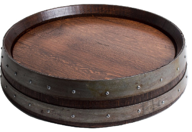 Banded Barrel Top Lazy Susan With Cooperage Stamp Farmhouse