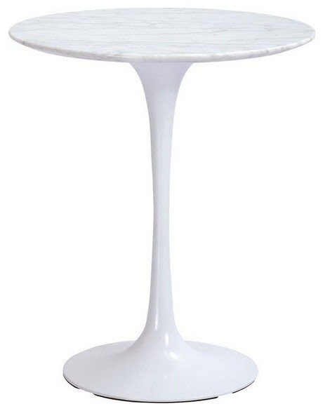 The Marble Tulip Side Table 20, White Midcentury Dining Tables